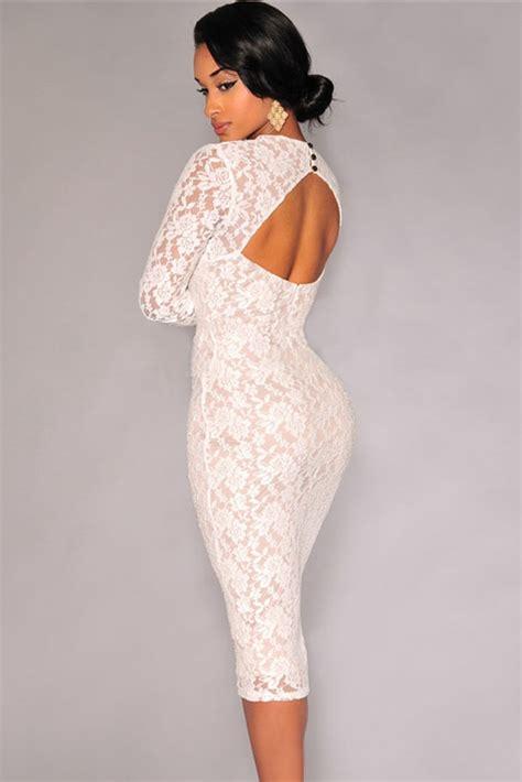 cheap v neck sleeves padded white lace sheath knee length dress dresses