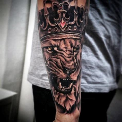 mens lion tattoo designs 100 crown tattoos for kingly design ideas