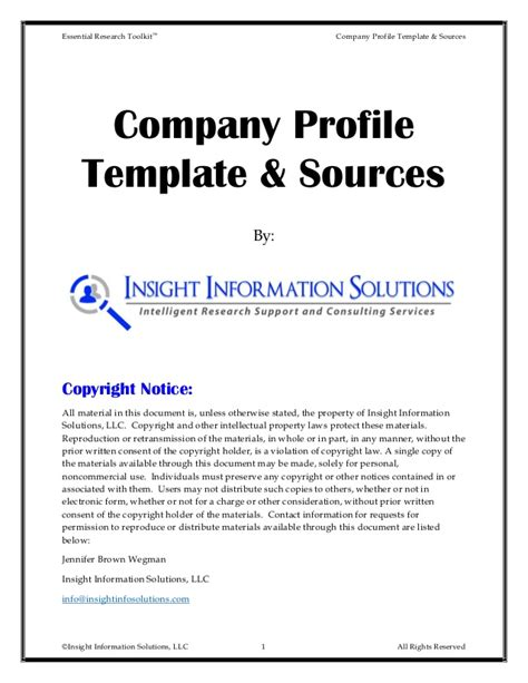 information technology company profile template company information template company profile templates