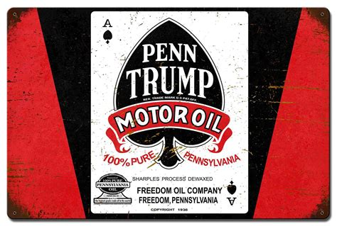 penn trump motor oil sign garage art