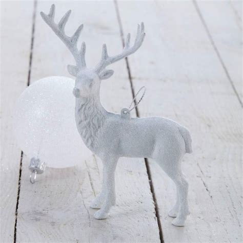 white glitter reindeer christmas decoration
