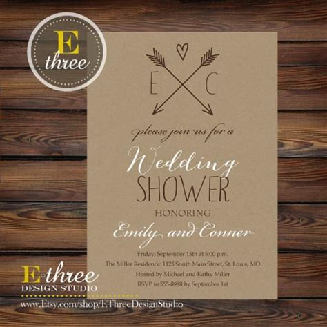 free printable bridal shower invitations rustic printable rustic wedding shower invitation kraft paper