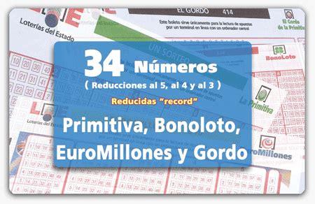 combinaciones reducidas record de euromillones y gordo de reducidas de 34 n 250 meros para primitiva bonoloto