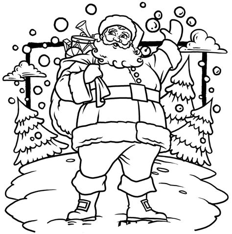 santa christmas tree coloring page christmas coloring page for kids