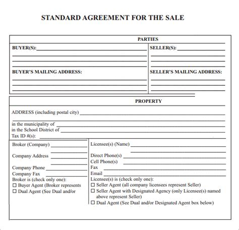 sale agreement template best photos of property sale contract real estate sales