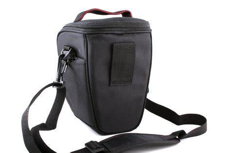 easy access black pu leather camera case for canon eos