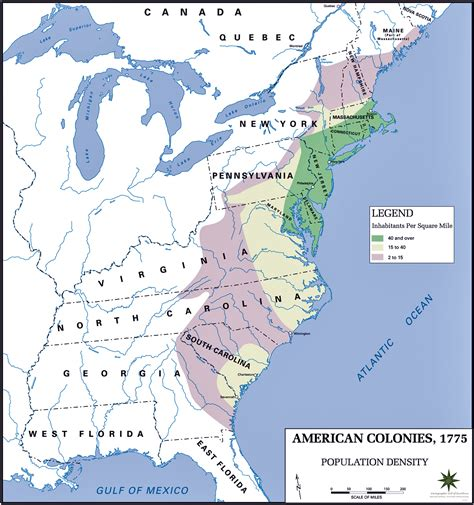 map of the us during the 1700s early united states and colonial history population