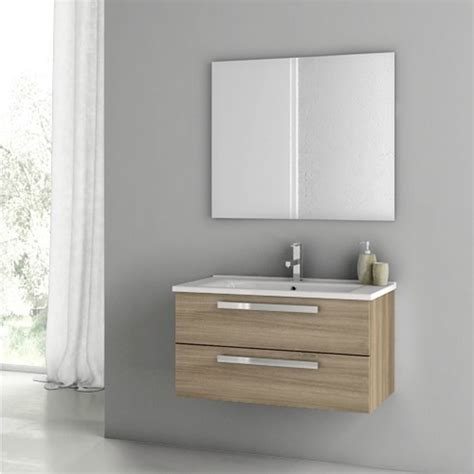 33 Inch Bathroom Vanity Modern 33 Inch Dadila Vanity Set With Ceramic Sink Grey Oak Senlis Zuri Furniture