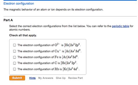 tutorial questions on electron configuration solved the magnetic behavior of an atom or ion depends on