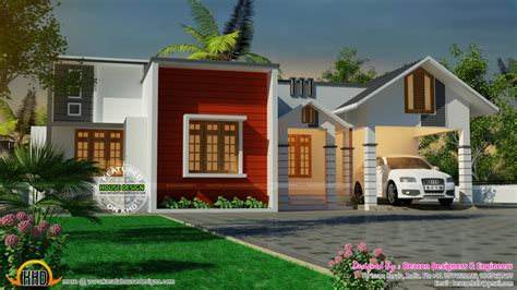 home design mix roof single floor house kerala home