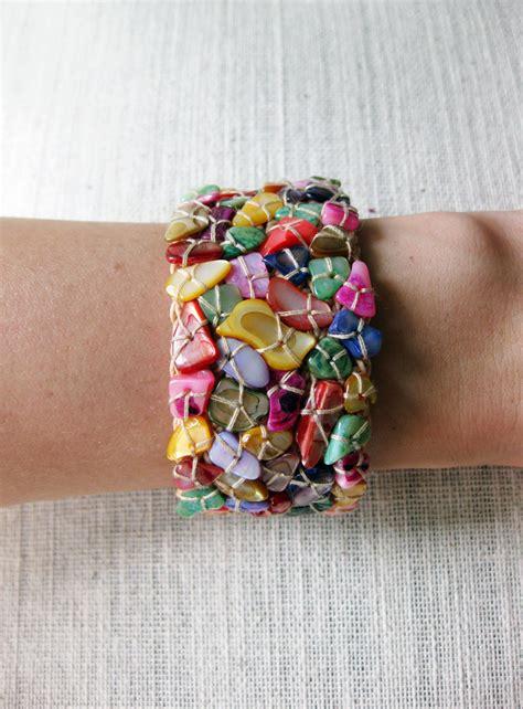 Handmade String Bracelets - colorful shells bracelet handmade cuff crochet wax string