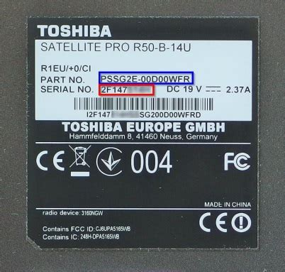 model  serial number   toshiba product