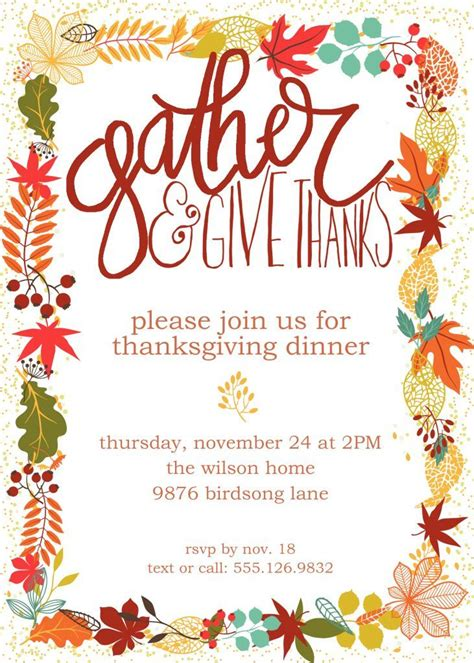 Thanksgiving Invitation Card Template by 20 Best Ideas About Thanksgiving Invitation On