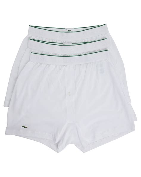 Lacoste 3 Pack Of White Els Cotton Knit Boxer Shorts In