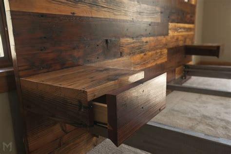 custom reclaimed king platform bed floating  tables