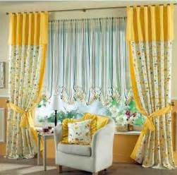 Beautiful Window Curtains Decoration Ideas Charming Yellow Grommet Curtain With Decorative White Flower Pattern And