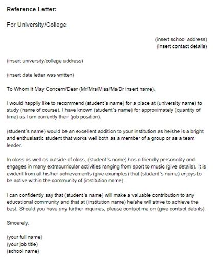 reference letter template for student exle of a reference letter for a student letters font