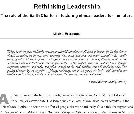 Writing A Report On Sustainability by An Eci Essay On Leadership And Ethics Earth Charter