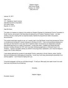 Cover Letter For Science by Sle Systems Engineer