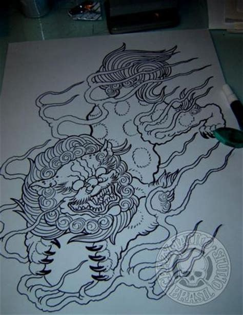 komainu tattoo design foo and dogs on