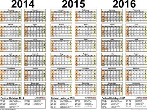 2014 And 2015 Calendar Templates by 2014 2015 2016 Calendar 4 Three Year Printable Pdf Calendars