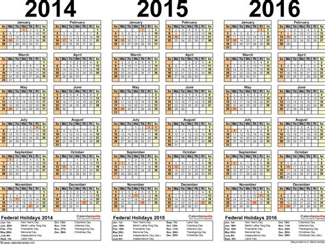 2014 2015 2016 calendar 4 three year printable excel