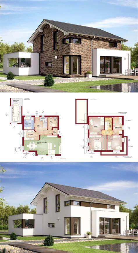 modernes einfamilienhaus mit satteldach und klinker