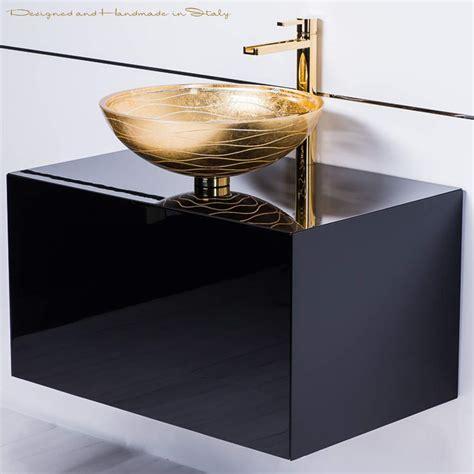 Modern Bathroom Vessel Sinks by Modern Black Lacquer Vanity And Gold Leaf Vessel Sink