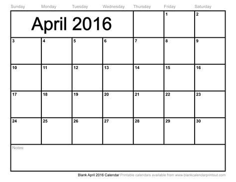 April Kalender 2016 Blank April 2016 Calendar To Print
