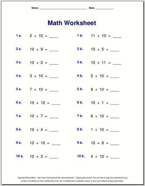 Math Worksheets Grade 10 by Multiplication Worksheets For Grade 3