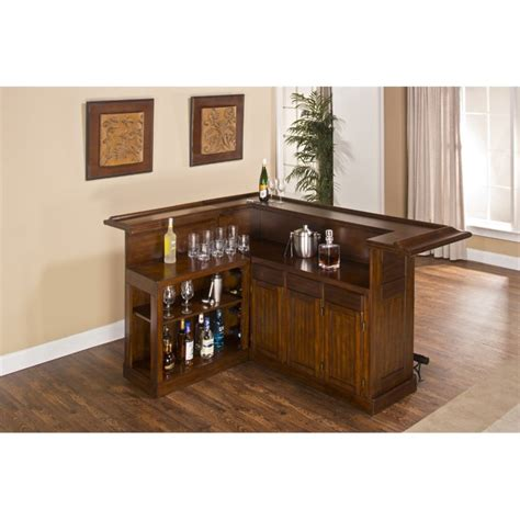 Classic L by Hillsdale Classic L Shaped Home Bar In Brown Cherry 64028xbche