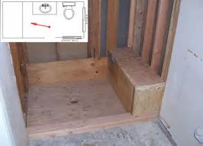 framing shower bench seat and pan pictures