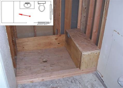 how to build a bench in a shower framing shower bench seat and pan pictures