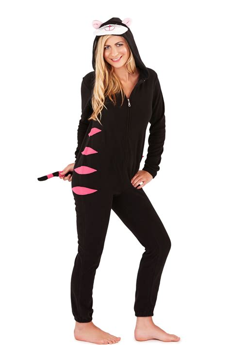 Jumpsuit Cat womens hooded ears onesie cat pug jumpsuit pyjamas