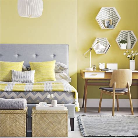 Mid Century Modern Yellow And Grey Bedroom Mid Century