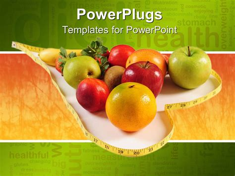 Powerpoint Template Healthy Diet Concept With Various Fruits Inside A Heart Shape Made Of Healthy Food Powerpoint Template