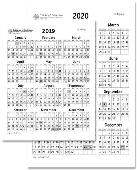 state  oregon printing mailing  distribution services calendars