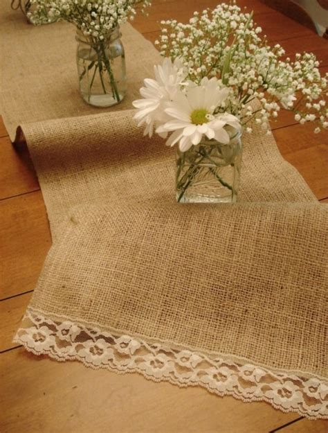 Table Runner Ideas by Rustic Table Runner Burlap And Lace Decor Ideas