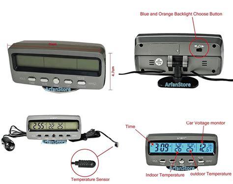 Jual Alarm Mobil Harga voltmeter digital mobil 4in1 ukur suhu waktu alarm