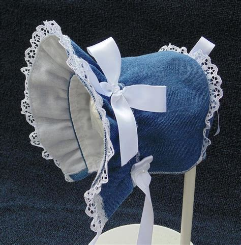 Handmade Denim - new handmade blue denim baby bonnet ebay