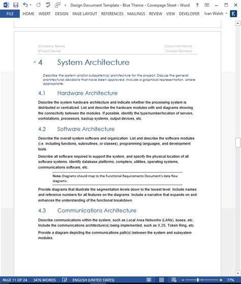 software design document template design document template