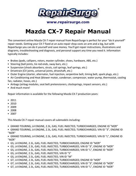 mazda cx 7 repair manual 2007 2011 by kevin green issuu