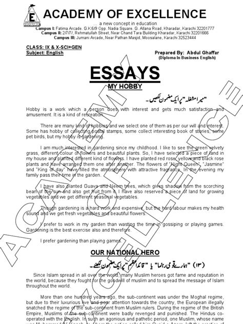 Essays In For Class 2 by Important Essays For Class Ix X Literacy Muhammad Ali Jinnah