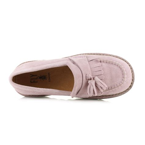 fly loafers womens fly juno pink loafer suede slip on shoes uk