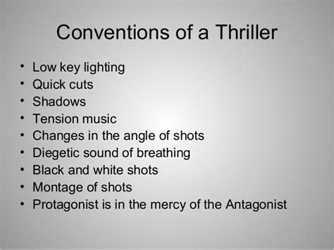 themes and conventions meaning codes and conventions of the thriller genre