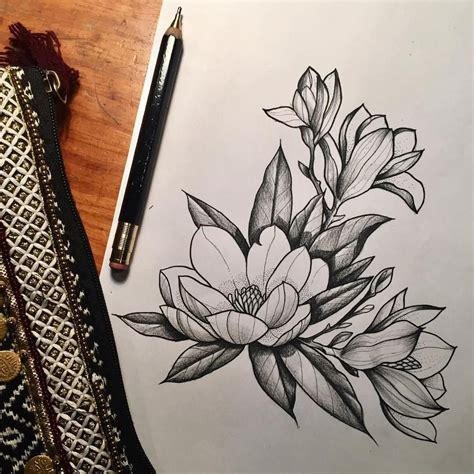 magnolia flower tattoo designs magnolia magnolia and blackwork
