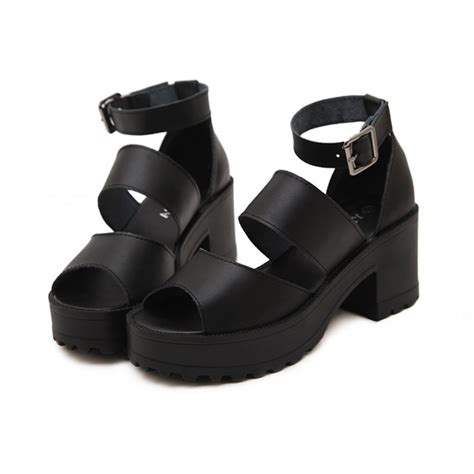 sandals from the 90s black chunky platform ankle 90s sandals