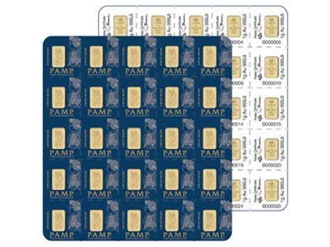 the bullion desk live gold 1 gram pamp multigram gold bullion bars sheet of 25
