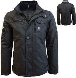 Mens Jacket Mens Crosshatch Jacket Zip Padded Winter Coat