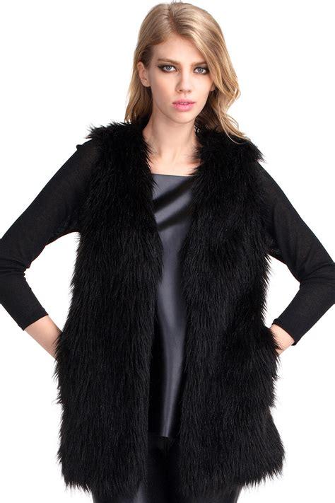 Faux Fur Duvet Romwe Brief Black Faux Fur Gilet The Latest Street Fashion